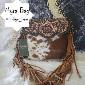 "Myra ""Blossom"" Leather & Hair-on Hand Tooled Bag"